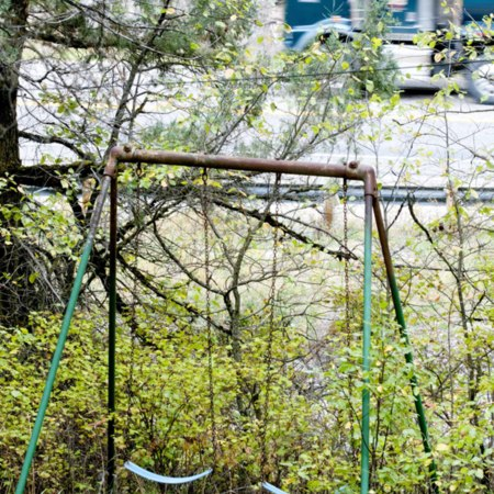 Swing set overlooking Logan Canyon road (Highway 89)