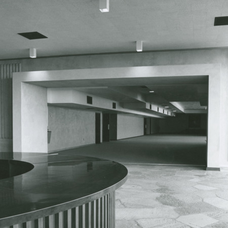 Kent Concert Hall foyer in the Fine Arts Center, 1967<br />