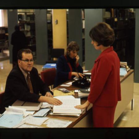 Karlo Mustonen at reference desk