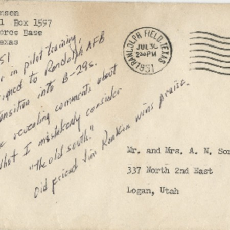 Personal letter from Robert Sorensen to family, July 30, 1951