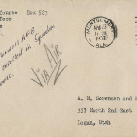 Personal letter from Robert Sorensen to Alma Sorensen, April 21, 1953
