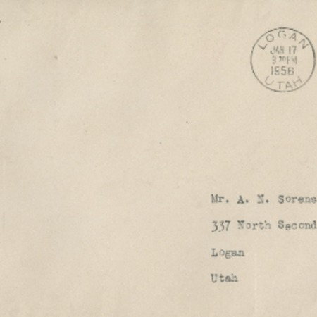 Correspondence from Virginia Hanson to Alma N. Sorensen, January 17, 1956