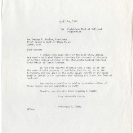 Champ to George S. Eccles, U.I.C. Sale Rumors, 1945<br />