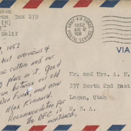 Personal letter from Robert Sorensen to Alma Sorensen, August 11, 1952
