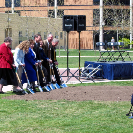 Breaking ground for the Merrill-Cazier Library
