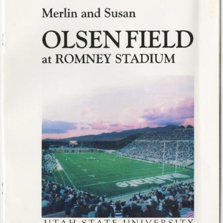 Brochure celebrating the dedication of Merlin Olsen Field at Utah State University, 2009