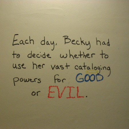 Merrill Library graffiti - Good or Evil