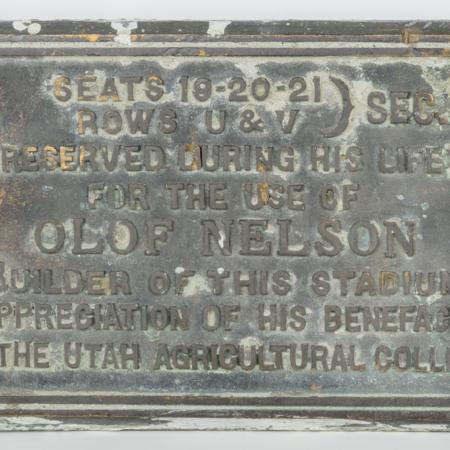 "Olof Nelson celebratory plaque located in the ""old"" Romney Stadium, c. 1927"