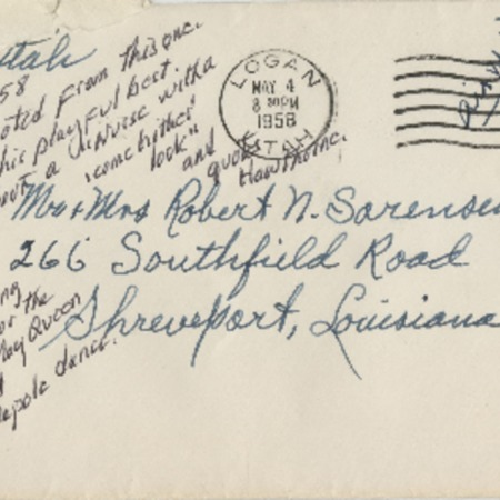 Correspondence from Alma N. Sorensen to Robert N. Sorensen, May 3, 1958