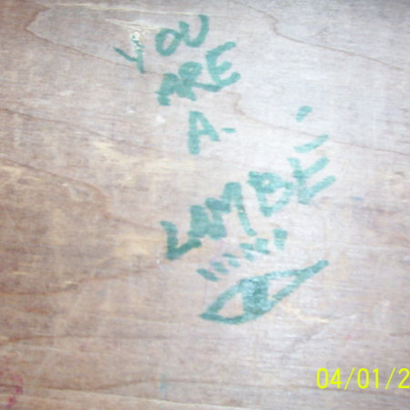 "Merrill Library graffiti - ""You are a Lambe"""