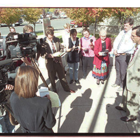 Cache County attorney, Scott Wyatt, talks to reporters about the trespassing incident at St. Anne's Retreat - Image 12 of 14