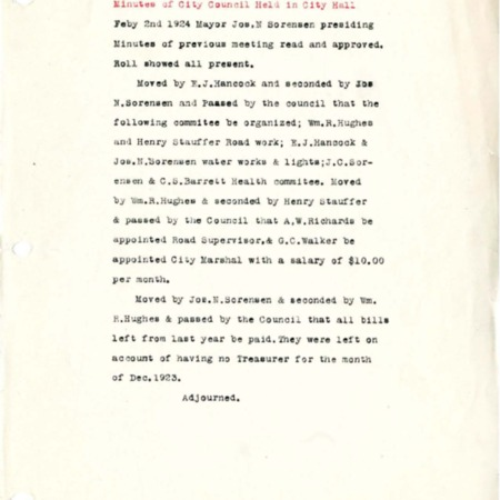 1924 City Council meeting minutes