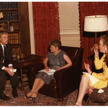 Kenneth E. Marks, Mrs. Karen Marks, Mrs. Velda Lye &amp; William F. Lye at the Hatch Room Reception<br />