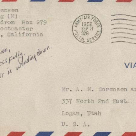 Personal letter from Robert Sorensen to Alma Sorensen, September 20, 1952