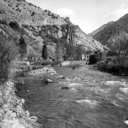 Looking upstream at the Utah Power and Light Company power station and cottages, Logan Canyon, Utah, 1920's