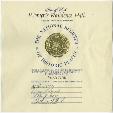 Women's Residence Hall (Lund Hall): National Register of Historic Places Certificate, 1986