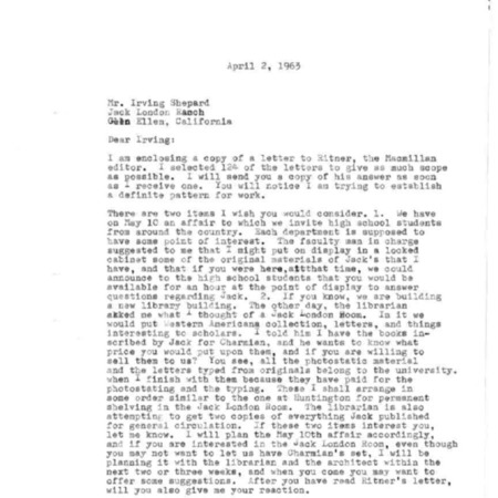 Letter from King Hendricks to Irving Shepard, dated April 2, 1963