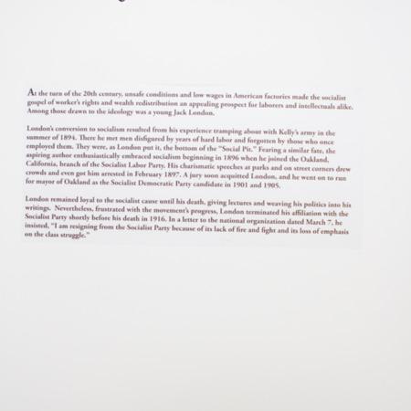 Jack London Exhibit, Boy Socialist Panel, view 1