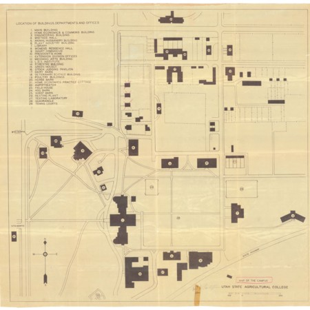 Utah State Agricultural College Campus Map, c. 1940