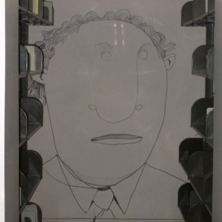 Merrill Library graffiti - Man wearing necktie