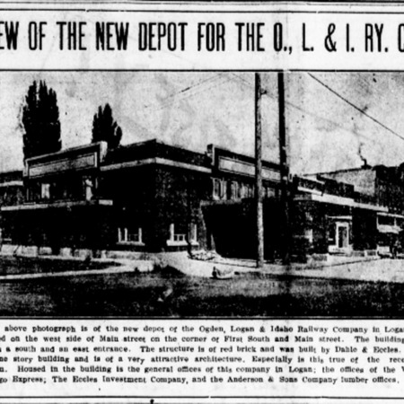 """View of the New Depot for the O. L. & I. Ry. Co.,"" Logan Republican, 1916<br />"