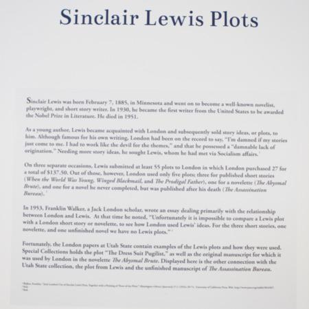 Jack London Exhibit, Sinclair Lewis Plots Panel, view 2