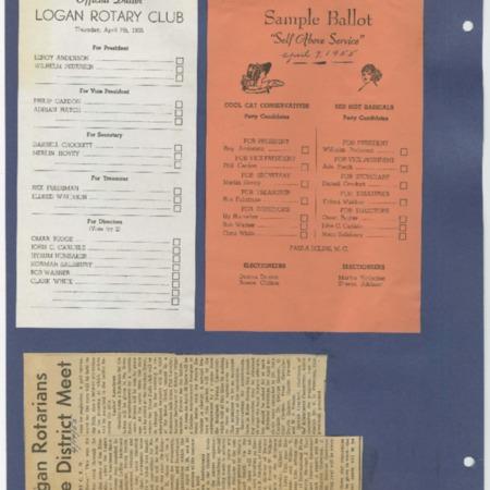 Logan Rotary Club Election Ballots, April 7, 1955