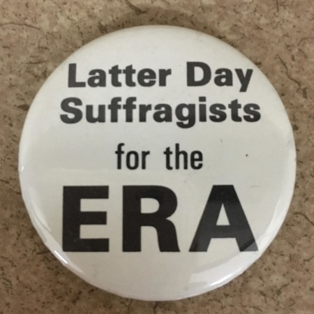 """Latter-day Suffragists"" Protest Button (white)"
