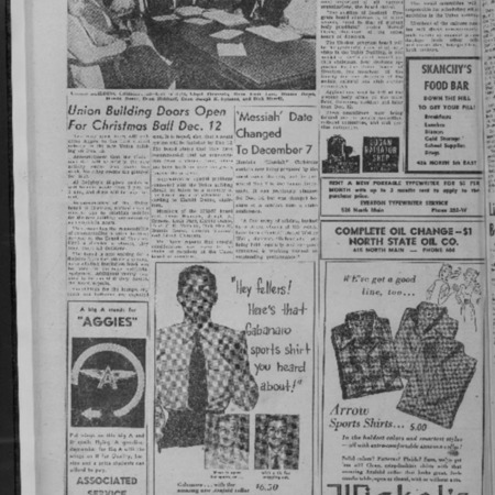 Newspaper article announcing the opening of the Student Union Center, 1952