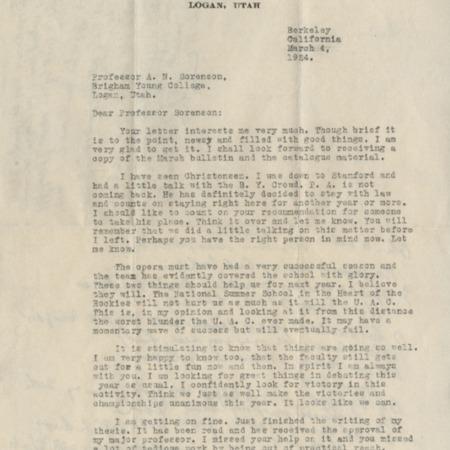 Correspondence from W.W. Henderson to Alma N. Sorensen, March 4, 1924