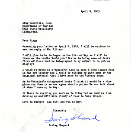 Letter from Irving Shepard to King Hendricks, dated April 9, 1963