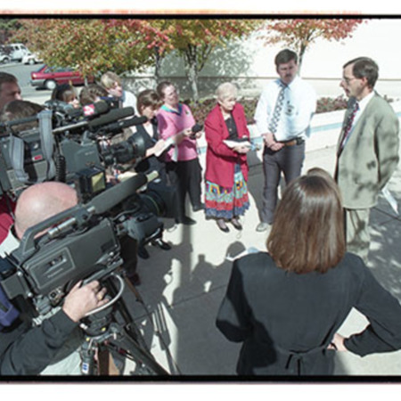 Cache County attorney, Scott Wyatt, talks to reporters about the trespassing incident at St. Anne's Retreat - Image 14 of 14
