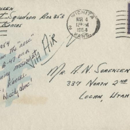 Personal letter from Robert Sorensen to Alma Sorensen, February 26, 1954