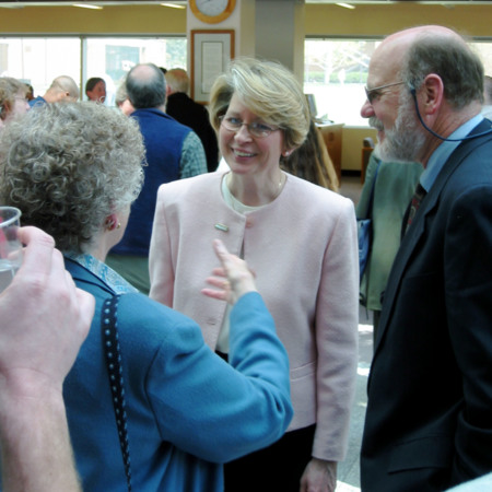 Linda Wolcott at the groundbreaking ceremony reception for the Merrill-Cazier Library