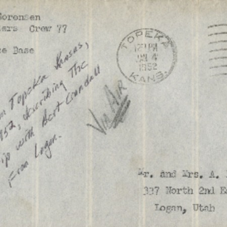 Personal letter from Robert Sorensen to family, January 2, 1952