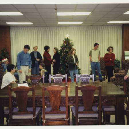Special Collections&#039; Christmas Party, left to right: Fred Gooch, Camille Carmack, Noel Carmack, Virginia Parker, Kenny Carmack, Sherry Brewer, Beverly Muri, Jolyn Hunting, David Duvall, Ann Buttars, &amp; Andrea Bass<br />