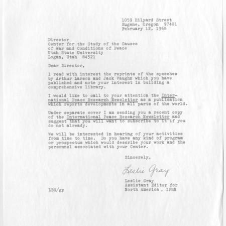 Letter - Leslie Gray
