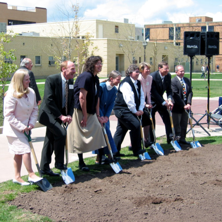 Breaking ground for the Merrill-Cazier Library<br />
