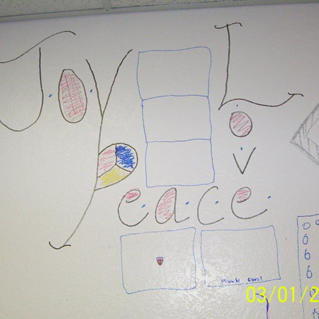 Merrill Library graffiti - &quot;Joy, Love, Peace&quot;<br />