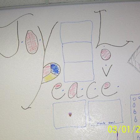 """Merrill Library graffiti - """"Joy, Love, Peace""""<br />"""