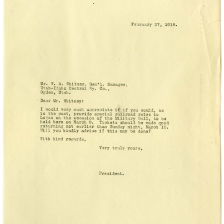 Peterson to Whitney, Special Rates for the Military Ball, 1918<br />