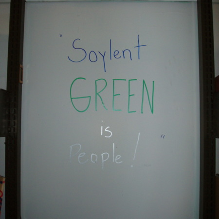 "Merrill Library graffiti - ""Soylent green is people""<br />"