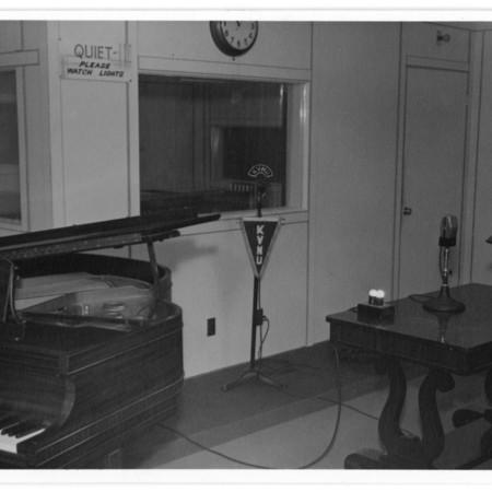 KVNU's studio, set up to record live music.