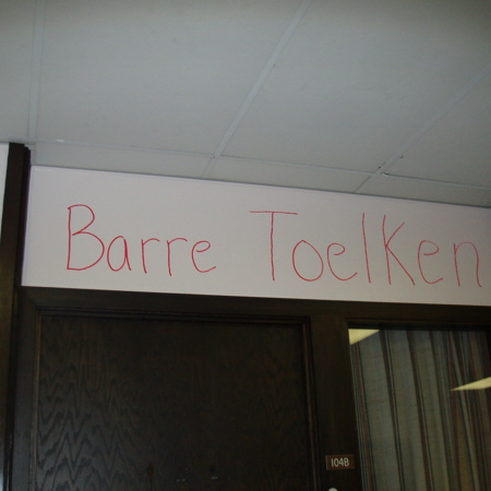 Merrill Library graffiti - &quot;Barre Toelken&quot;<br />