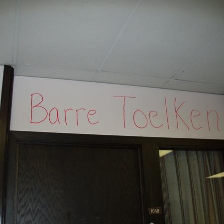 """Merrill Library graffiti - """"Barre Toelken""""<br />"""
