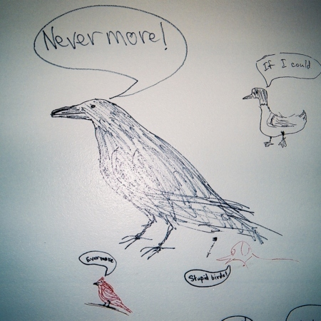 Merrill Library graffiti - &quot;Nevermore&quot; - drawing of raven with caption<br />