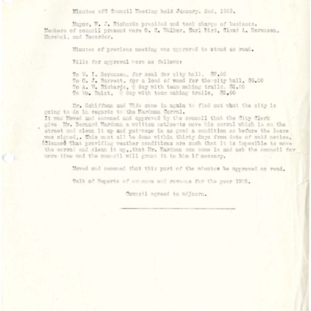 1929 City Council meeting minutes
