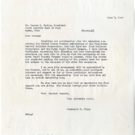 Champ to George Eccles, U.S. Chamber of Commerce Memberships, 1944<br />