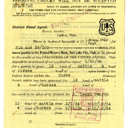 Nicholas Welch Crookston Grazing Permits, 1890-1924