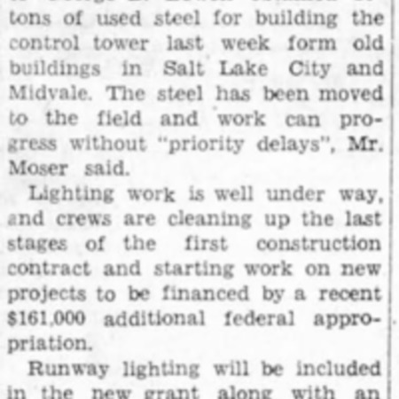 """Work Begins on Airport Tower"" article in the North Cache News from August 7, 1942"